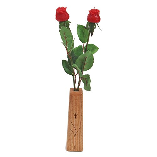 16th Year Wedding, 2-Stem Wax Roses with Vase, Perfect Present for Wife or Husband