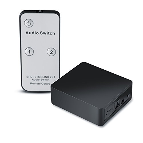 CSL - Toslink 2x1 Switch SPDIF TOSLINK Umschalter - 1 zu 1 Übertragung - verlustfreie Signalübertragung - kompatibel mit Apple TV PS3 PS4 Xbox One Blu-ray Player etc. an Soundbar Receiver Boxen