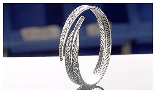 Wh1t3zZ1 Pulsera Mujer 925 Plata Pluma brazaletes brazaletes Pulsera para Mujer Pareja Creativo Fiesta joyería Regalos
