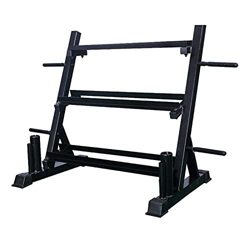Bastidor de almacenamiento de pesas, soporte multifunción de 3 niveles para pesas, kettlebells, placas de peso de almacenamiento y soporte de barra vertical dual, todo en un bastidor de mancuernas
