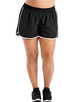 Just My Size Women s Plus Size Active Woven Run Short Black 4X