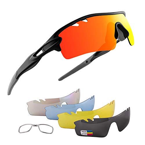 OULIQI Occhiali Ciclismo Polarizzati con 5 Lenti Intercambiabili Occhiali Bici Occhiali Sportivi da Sole UV da Uomo Donna per Corsa, MTB e Running (Grigio)