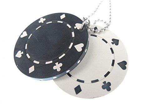Miniblings Conjunto de la ficha de póker 2 Collar 80cm póker del Casino de Las Vegas