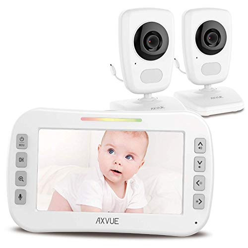 """Video Baby Monitor 5"""" High Resolution Screen, 2 HR Cam, Extra Long Range, Secure Wireless Technology, Built-in Auto Night Vision, Temperature Alert"""