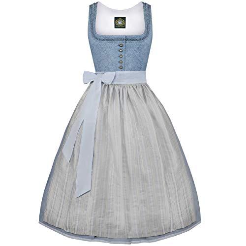Hammerschmid Damen Trachten-Mode Midi Dirndl Pillersee in Blau traditionell, Größe:40, Farbe:Blau