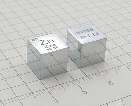 10 mm Cubo Metal Zinc 99,995% Alta Pureza Cubo Zinc Metal Tallado Elemento Periódico Tabla Cubo