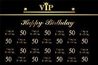 AOFOTO 10x7フィート Happy 50th Birthday VIP 背景 パーティー 装飾 バナー 写真 背景 誕生日 祝賀 写真 スタジオ小道具 男性 女性 母 父親 母 ビニール壁紙