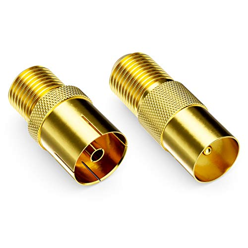 deleyCON SAT Adapter Set F-Stecker zum Antennenkabel F-Kupplung Koax-Kupplung F-Buchse auf 1x IEC Antennenstecker und 1x IEC Antennenbuchse