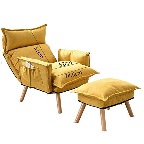 WHOJA Silla Tumbona Plegable Meditación Respaldo ajuste de 6 velocidades Sillón Diseño de almacenamiento Asiento de lino de algodón para Dormitorio, sala de estar, estudio Sillon Relax(Color:Amarillo)