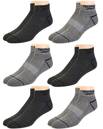 Reebok Mens' Breathable Cushioned Comfort Quarter Cut Basic Socks (6 Pack) (Grey Assorted, Shoe Size: 6-12.5)