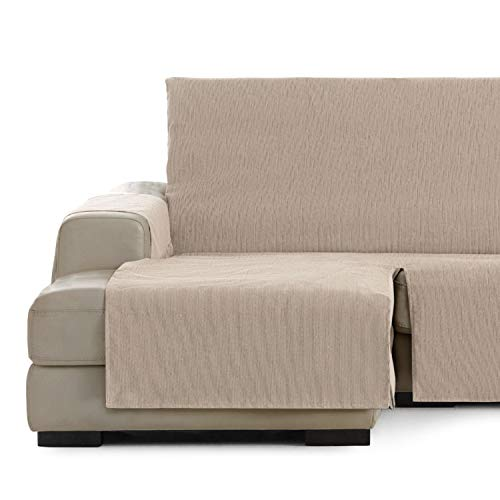 Vipalia Cubre Sofa chaiselongue Ajustable. Funda para Sofa Chaise Longue Brazo Izquierdo Corto. Protector Antimanchas Chenilla. Color Beige. Chaise Corto Izquierda