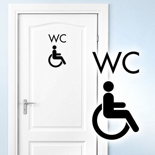 Grandora Türaufkleber WC Rollstuhl I schwarz (BxH) 10 x 19 cm I Behinderten Klo Toilette Badezimmer Bad Wandtattoo Wandaufkleber Wandsticker W5395