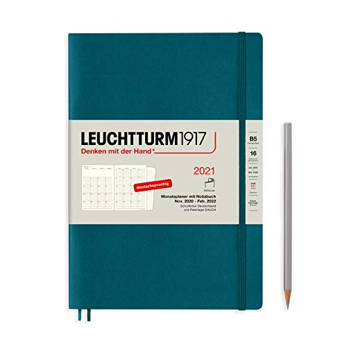 LEUCHTTURM1917 362117 Monatsplaner Composition (B5) Softcover, 16 Monate, Pacific Green, Deutsch
