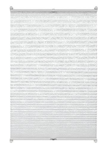 GARDINIA Plissee zum Klemmen, Blickdichtes Faltrollo, Alle Montage-Teile inklusive, EASYFIX Plissee Ausbrenner verspannt mit zwei Bedienschienen, Blumen-Muster, Weiß, 80 x 130 cm (BxH)