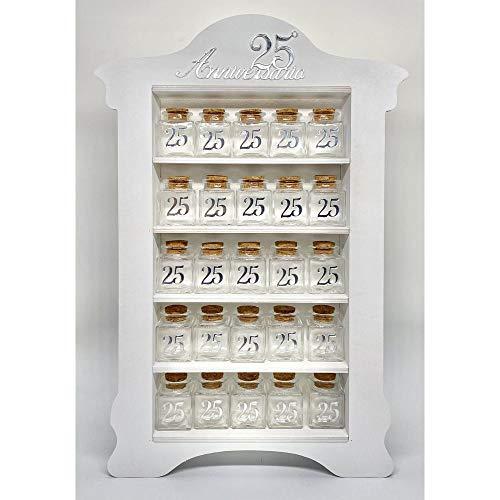 A&D Librería de madera para bodas, plata 24 tarros para peladillas de...