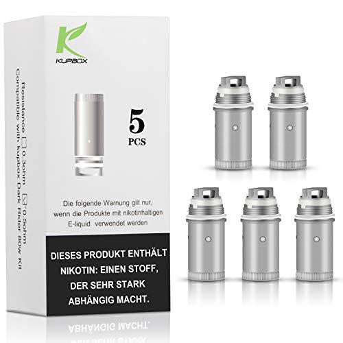 Kupbox Verdampferkopf, EC Coil 0.5 Ohm (Packung von 5) für Kupbox E Zigarette Starterset,80W Rider Dark, ohne Nikotin