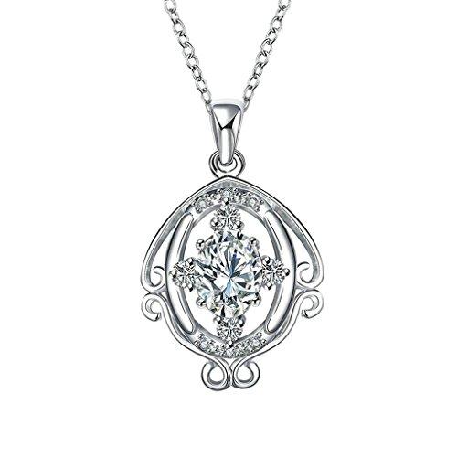 KnSam Joyería de Moda Collar de Plata Mujer, Chapado en Plata Hueco Oval Espejo Colgante Blanco Cristal para Mujer Joya Original