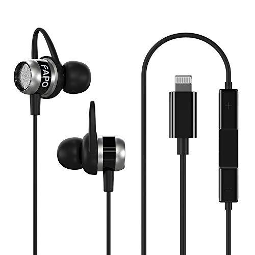 Lightning Earphones Earbuds Headphones Compatible iPhone 11 Pro Max iPhone X XS Max XR iPhone 8 Plus iPhone 7 Plus, MFi Certified Wired Earphones Built-in Microphone Volume Controller