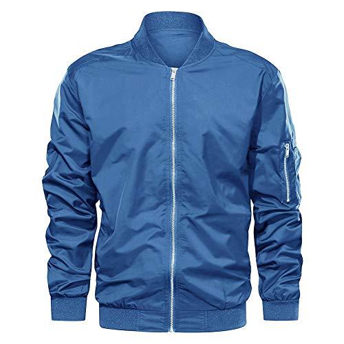 EKLENTSON Herren Trainingsjacke Sportjacke Jacket Stretchjacke Joggingjacke mit Taschen Hellblau, 2XL
