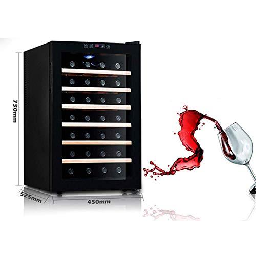 KAX Car Refrigerator-28 Bottlesthermoelectric Wine Cooler - Rot- und Weißweinkühler - Aufsatz-Weinkeller - Freistehender Kühlschrank mit LCD-Display und digitaler Touch-Steuerung/Regal aus Hol