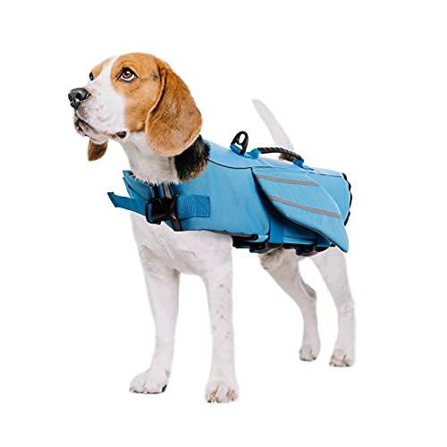 PUMYPOREITY Chaleco Salvavidas para Perros Mascotas Chaqueta Chaleco de Seguridad Perro Perrito Ropa de Baño para Perros pequeños, medianos, Grandes(Azul, L)