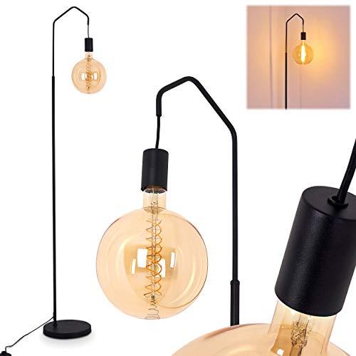 Stehlampe Cuyama, Vintage Stehleuchte aus Metall in Schwarz, 1-flammig, E27-Fassung, max. 40 Watt, Höhe 165 cm, Bodenleuchte im Retro-Design mit Fußschalter am Kabel, LED geeignet