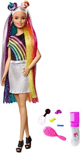 Barbie FXN96 - Regenbogen Glitzerhaar Puppe mit bunten 19 cm langen Haaren und Zubehör, Puppen Spielzeug ab 3 Jahren