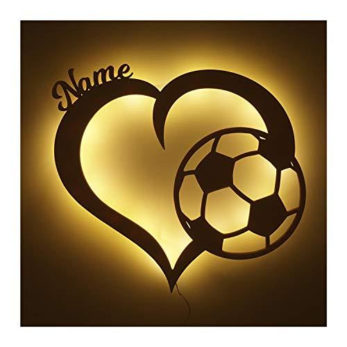 Fussballerin Fussballer Herz Nachtlicht Lampe Geschenke mit Namen personalisiert I Optional mit Farbe