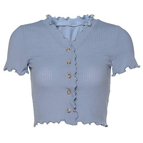 Crdigan de Moda de Verano para Mujeres Europeas y Americanas con Cuello en V Camiseta de Oreja de Madera Camiseta bsica de Color slido L