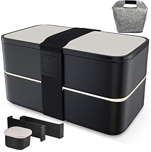Bento Box Lunchbox Brotdose Brotbüchse Zwei Fächern mit 1 schöne Tasche, 3-Teiligem robusten Besteckset & wasserdichter Bento-Gurt (Mit Saucenbox)