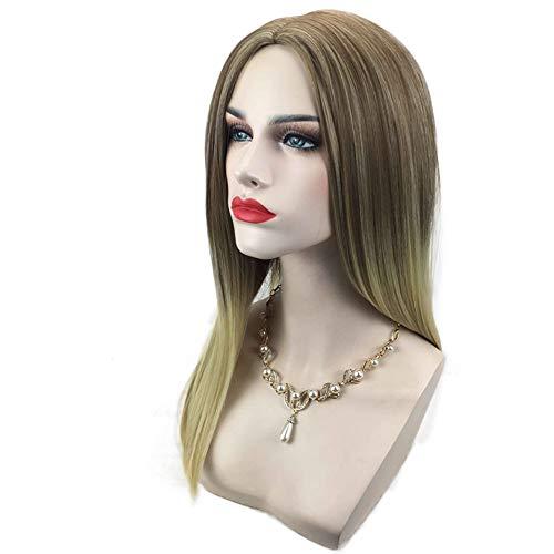 Extension des cheveux Perruque de mode féminine dégradé de couleur long cheveux raides perruque Set 50cm de fil à haute température