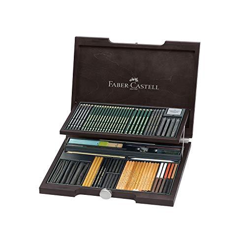 Faber-Castell 112971 - Pitt Monochrome Holzkoffer, 86 Teile