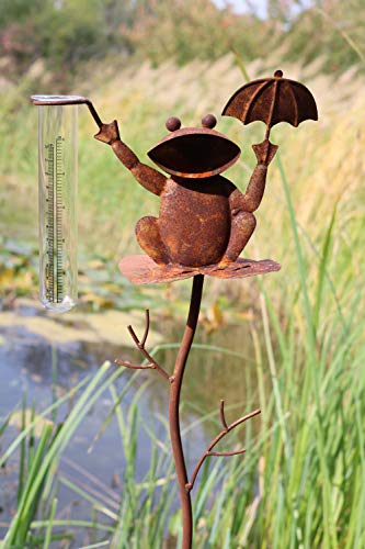 AmaCasa Regenmesser Litermesser Frosch aus Metall | Niederschlagsmesser für Haus & Garten | inklusive Glas mit Skala |Gartenstecker mit Einer Höhe von 100cm