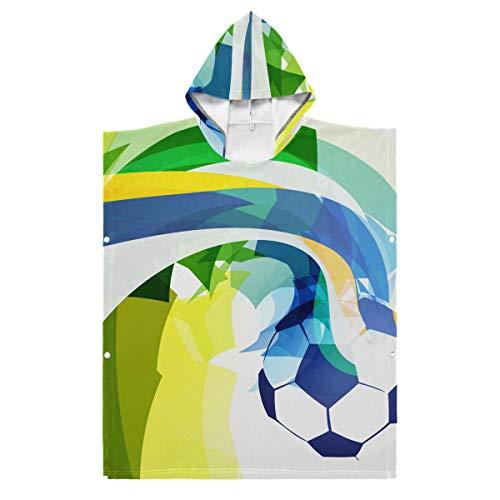LORONA Kids Teens Polyester-Katoen Blend Abstract Voetbal Ontwerp Strand Handdoek Mantel Dekbed Draagbare Hooded Deken Hoodie Mantel 35.43x27.55in/90x70cm Meerkleurig