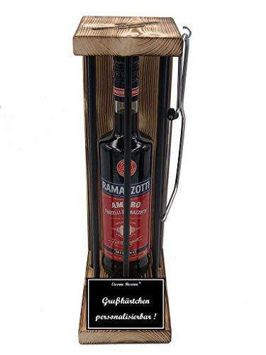 * Personalisierbar Die Eiserne Reserve ® Black Edition mit Ramazzotti 0,70L incl. Bügelsäge zum zersägen der Stäbe - Die lustige Geschenkidee.