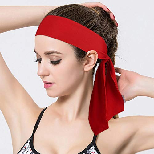 Diadema Deporte Hombres Sudor Bandas para el Cabello Cinta de Correr Protección para la Frente Correr Fitness Yoga Tenis Sobregrip Mujeres Elastic Sweatband # 32, Rojo