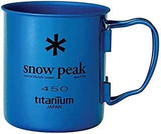 Snow Peak - Ti-Single 450 Cup - Sustainable, Folding Handles for Backpacking and Camping - Anodized Blue