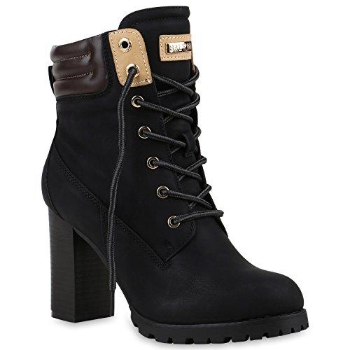 Damen Schnürstiefeletten Stiefeletten Worker Boots Wildleder-OptikHalbhohe Stiefel Schnürer Wildleder-Optik Schuhe 122662 Schwarz 38 Flandell