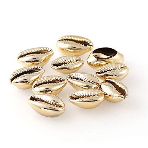 盛世汇众 20PCS 9colors Conchas Naturales encantos Connect Cuentas de Oro Baño de Plata for DIY Bohemia fabricación de la joyería Collar de la Pulsera (Metal Color : Gold Color)