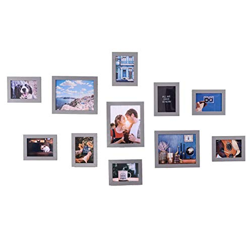 Muzilife Bilderrahmen Collagen 11er Modern Bilderwand Silbergrau Home Deko 8pcs 13x18cm + 3pcs 20x25cm (Silbergrau)