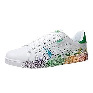Sunhusing Women's Color Graffiti White Shoes Sports Shoes Running Shoes Men Women Casual Shoes Lovers Shoes (US:8.5, Green)