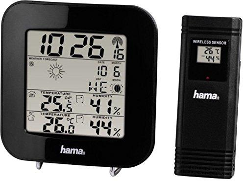 Hama 00136222 Funk Wetterstation EWS-200 (Funkuhr, Wecker, Thermometer, Mondphasenanzeige und Wettervorhersage, inkl. Außensensor mit 30m Reichweite) schwarz
