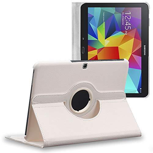 ebestStar - kompatibel mit Samsung Galaxy Tab 4 10.1 Hülle SM-T530, T533 T531 T535 Rotierende Schutzhülle Etui, Schutz Hülle Ständer, Rotating Hülle Cover Stand, Weiss [Tab: 243.4x176.4x8mm, 10.1'']