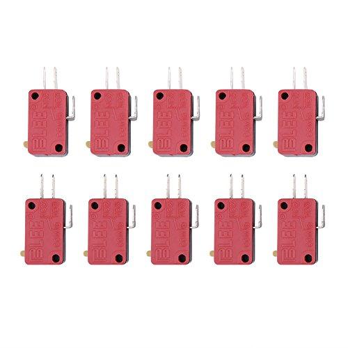 10 piezas de repuesto de botón de 3 pines, color rojo, para juego de arcade