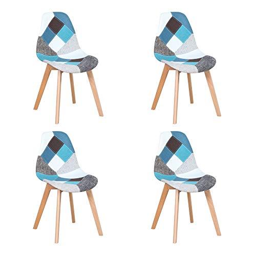 Uderkiny Lot de 4 Chaises Chaise de Salle à Manger Patchwork Chaise de Style Nordique pour la Cuisine la Salle à Manger Le Salon et Le Restaurant (Bleu)