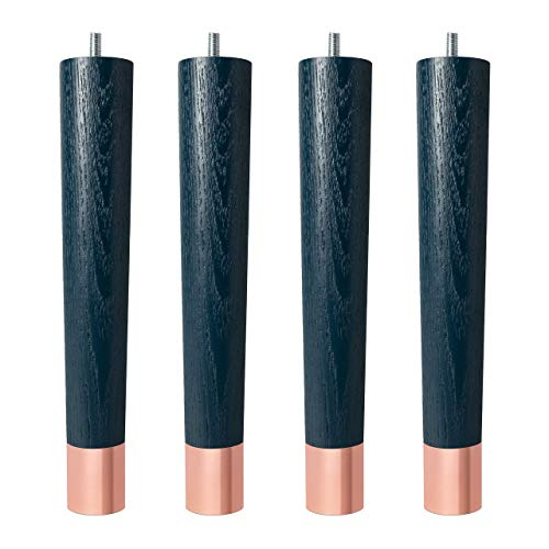 4x Natural Goods Berlin Fusion Leg Möbelfüße   massives Eschenholz mit Metallkappen   alle Farbkombinationen   viele Größen (Marineblau   30cm   Kappe Roségold)