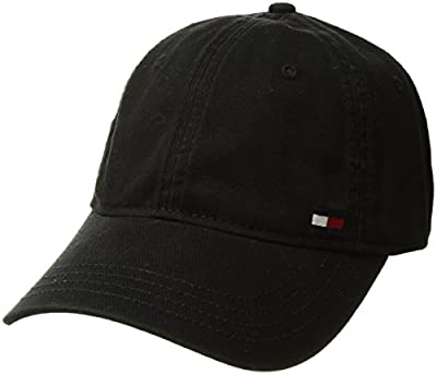 Tommy Hilfiger Men's Dad Hat Billy Corner Flag Cap, Black, O/S