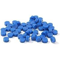 100 unids/bolsa tableta de cera de sellado vintage perlas de píldora sello de sello de cera octogonal para sobre fiesta de boda estampado cera de sellado de grano, color azul