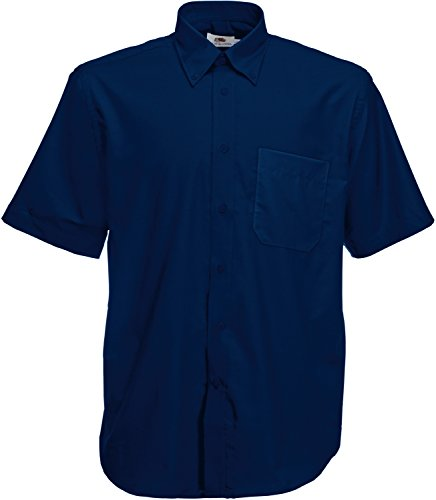 Fruit of the Loom Kurzärmeliges Oxford-Hemd für Herren XXXL Blau - Marineblau