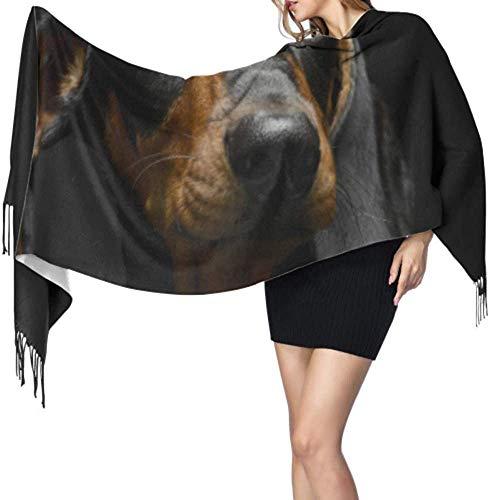Dachshund Puppy Hond In Een Donker Grote Sjaal Wrap Sjaal Wrap Lange Kasjmier Sjaal Vrouwen 77